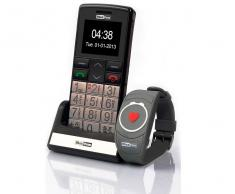 Maxcom mm715bb teléfono móvil senior con pulsera sos 1.8 cámara radio fm linterna