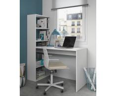 Mesa escritorio en blanco con estantería