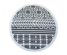 Toalla grande redonda Polyester negra y blanca Diametro 150cm