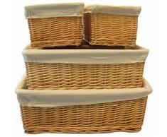 Set 4 cestas de mimbre natural apilables (3 tamaños)