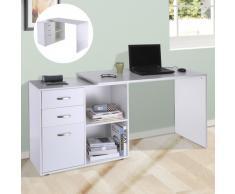 HomCom Mesa Escritorio para Ordenador 2 Formas con 2 Estantes 3 Cajones Madera Blanco