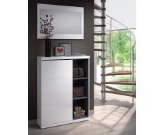 Mueble para el recibidor con zapatero y dos estantes + Espejo