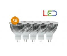 Pack de 5 bombillas LED MR16C45 5W luz blanca