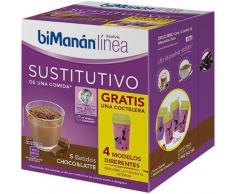 Bimanán Línea Sustitutivo Batidos Chocolate Leche 150g (5uds) + Coctelera GRATIS
