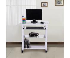 Mesa Escritorio para Ordenador con Estantes de Vidrio - blanco - 80x51x83 cm
