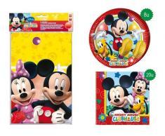 "Pack Papstar ""Playful Mickey"" Platos Cartón + Servilletas Papel + Mantel Plástico"