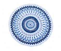 Toalla grande redonda Polyester azul y blanca Diametro 150cm
