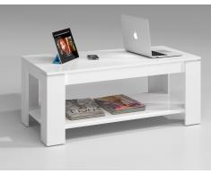 Mesa de diseño elevable para tu salón con revistero en blanco brillo