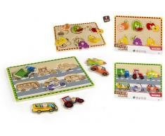 Puzzle madera 29x22 cm Frutas / vehículos 2/s 7pcs