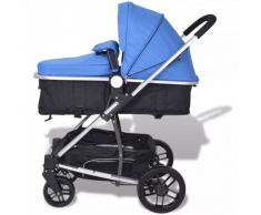 Cochecito y silla de bebé 2 en 1 Aluminio Azul y negro