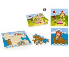 Puzzle madera 25x25cm Pirata/princesa 2/s 24m 16pcs disp 12