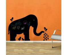 Pizarra de vinilo Elephant and Birds Negro 43 x 60