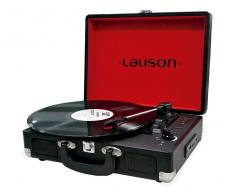 Lauson cl603 negro tocadiscos vintage maletín con bluetooth y función grabador de vinilo a usb en mp3 lector sd 3 velcoidades