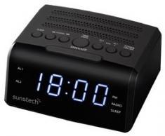 RADIO RELOJ SUNSTECH FRD35UBK NEGRO ENT. AURICULAR USB CARGA