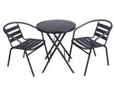 Conjunto Jardín Bistro Metal (2 sillas +1 mesa cristal)