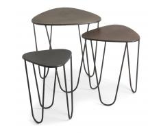 Kavehome - Set 3 Mesas Nido..., Disponible En Metal Y De Color Plata,Dorado,Cobre Por Solo 294.68 Eur