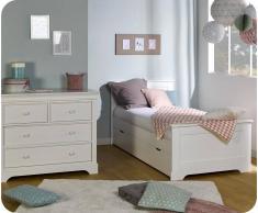 Blanco Dormitorio juvenil MEL Blanco - Set de 2 Muebles