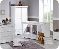 LG EB - Habitación Bebé Completa MEL Blanca Armario 2 Puertas Cuna convertible