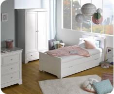 Blanco Dormitorio juvenil MEL Blanco - Set de 3 Muebles