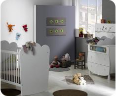 Blanco Mini dormitorio LINEA Blanco Cuna barrotes. Colchón incluido