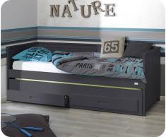 Pack cama nido juvenil SWAM 90x200cm + 2 colchones Gris Antracita
