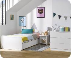 Blanco Dormitorio juvenil LEMON Blanco - Set de 3 Muebles