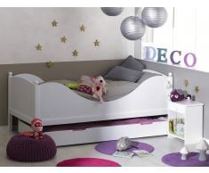 """Blanco Dormitorio juvenil """"COLOR"""" Blanco Cama+Mesita+Somier"""