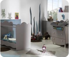 Mini dormitorio LINEA Lino Arena Cuna Plexi + Colchón