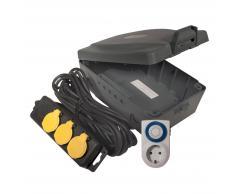 lightmaXX Caja para cables + temporizador Fuente de alimentación triple para exteriores