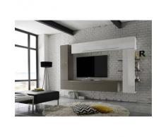 Conjunto de pared TV diseño blanco y pardo ANTHON - Miliboo