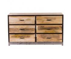 Cómoda 6 cajones madera y metal INDUSTRIA - Miliboo
