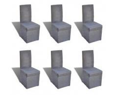 VidaXL Silla de comedor con funda color gris oscuro, 6 unidades