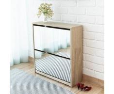 VidaXL Mueble zapatero 2 capas con espejo roble 63x17x67 cm
