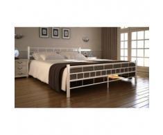 VidaXL Estructura de cama matrimonio 160x200 cm blanca metal