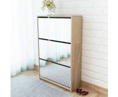 VidaXL Mueble zapatero 3 capas con espejo roble 63x17x102,5 cm