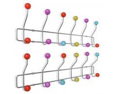 VidaXL Perchero colorido de pared con 12 ganchos, 2 unidades