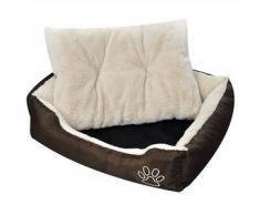 VidaXL Cama blanda para perros con un cojín blanco acolchado, tamaño M