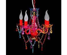 VidaXL Lámpara araña de techo con cristales varios colores 5 bombillas
