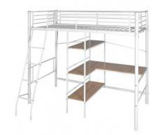 VidaXL Cama alta con escritorio 200x90 cm blanca y marrón metal