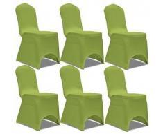 VidaXL Funda de silla elástica 6 unidades verde