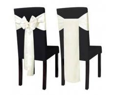 VidaXL Lazo de satén para funda silla, 25 piezas, Crema