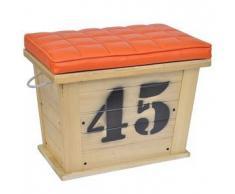 VidaXL Reposapiés de madera y cojin naranja - caja almacenamiento interna