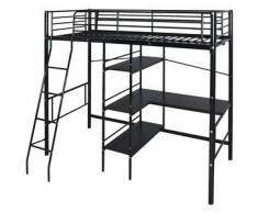 VidaXL Cama alta con escritorio 200x90 cm negro metal