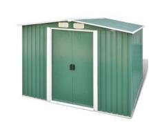 VidaXL Caseta de almacenamiento jardín con base verde