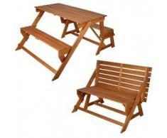 Esschert Design Banco de jardín convertible en mesa picnic, BL059