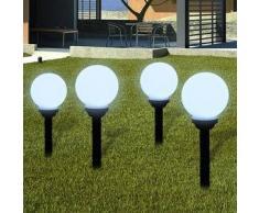 VidaXL Lámpara solar de jardín en forma bola con LED, 15 cm, 4 unidades