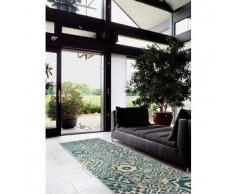 Benuta Alfombra de pasillo Patchwork-Mosaico Azul 80x290 cm