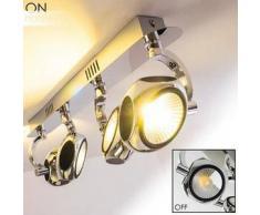 BOROA Lámpara de Techo LED Cromo, 4 bombillas - 1920 Lumen - Moderno - Zona interior - 3200 Kelvin - 2 - 4 días laborables .