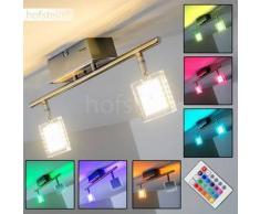 Oxford Lámpara de techo LED Cromo, 2 bombillas - 320 Lumen - Moderno - Zona interior - 3000/RGB Kelvin - 2 - 4 días laborables .