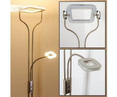 BISSET Lámpara de Pie LED Níquel-mate, 2 bombillas - 1500/380 Lumen - Moderno - Zona interior - 3000 Kelvin - 2 - 4 días laborables .